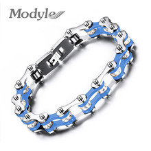 Modyle Fashion Bracelet Men Stainless Steel Biker Bicycle Motorcycle Chain Bracelets Bangles Jewelry Wholesale(China)