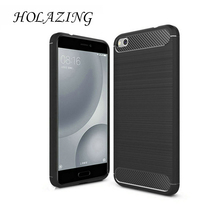 "HOLAZING Glossy Rugged Full Body Armor Case for Xiaomi Mi5C Mi 5C 5.15"" Anti-Shock Absorption Luxury Carbon Fiber Design Cover(China)"