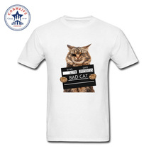 2017 Fashion New Gift Tee Bad Cat Police Dept Funny T Shirt for men(China)
