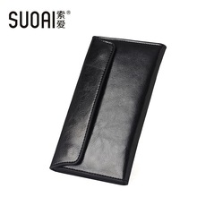 SUOAI  Genuine Leather Wallet Women High Quality Soft Long Purse Fashion Female Wallets Card Holder