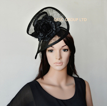 NEW BLACK sinamay fascinator hat with silk flower  for wedding,kentucky derby,races.