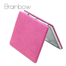Brainbow PU Notebook Design Colorful Fold Double Sides Metal Portable Pocket Mirror Personalized Compact Mirrors Makeup Vanity(China)