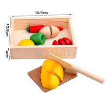 Wooden Food Kitchen Play Educational Pretend Play Toys in A Crate
