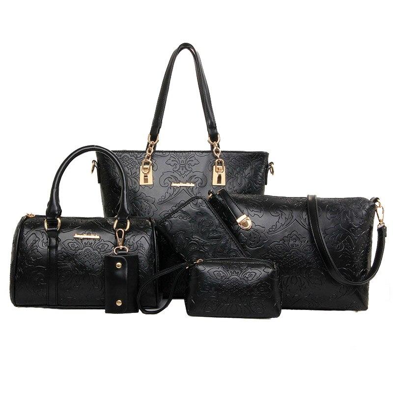 6Pcs/Lot Designer Women Embossing Composite Bag Casual Female Tote Bag Shoulder Bags Handbag Portable Handle Purse Key Bag<br><br>Aliexpress