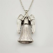 dr doctor who necklace vintage antique silver crying weeping angel pendant jewelry for men and women wholesale