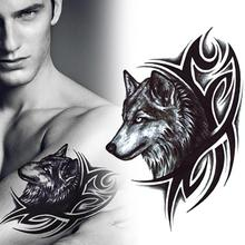 2Pcs/lot Water Transfer men women wolf tattoo sticker fake tattoo decal Waterproof Temporary Animal Tattoo stickers RP2