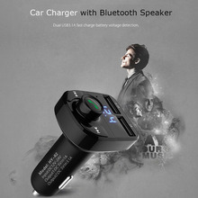Dual USB Car Charger w/ Hands-free Phone Bluetooth Speaker Fast Charger FM Transmitter U Disk MP3 Music Player for Mobile Phone