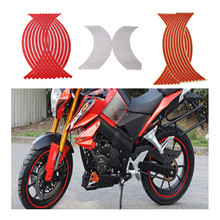 16Pcs 17-19 inch Universal Car Styling Motorcycle Reflective Rim Wheel Tape Stripe Stickers Decals Bicycle Car Sticker Motocross