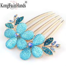 Free Shipping Palace Luxury Sun Flower Hair Combs Moden fashion Crystal jewelry Hair pin Accessory Spring gift Dress In Party(China)