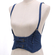 New Sexy Women Push Up Bust Strap Harness Corset belts Women Casual denim Wide belt Lady Suspender accessories(China)