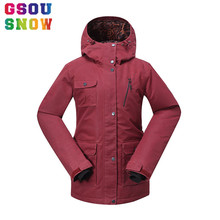 GSOU SNOW Women's Ski Jacket Waterproof Snowboard Jacket Plus Size Winter Skiing Suit Female Outdoor Sport Ski Clothes Snow Coat(China)