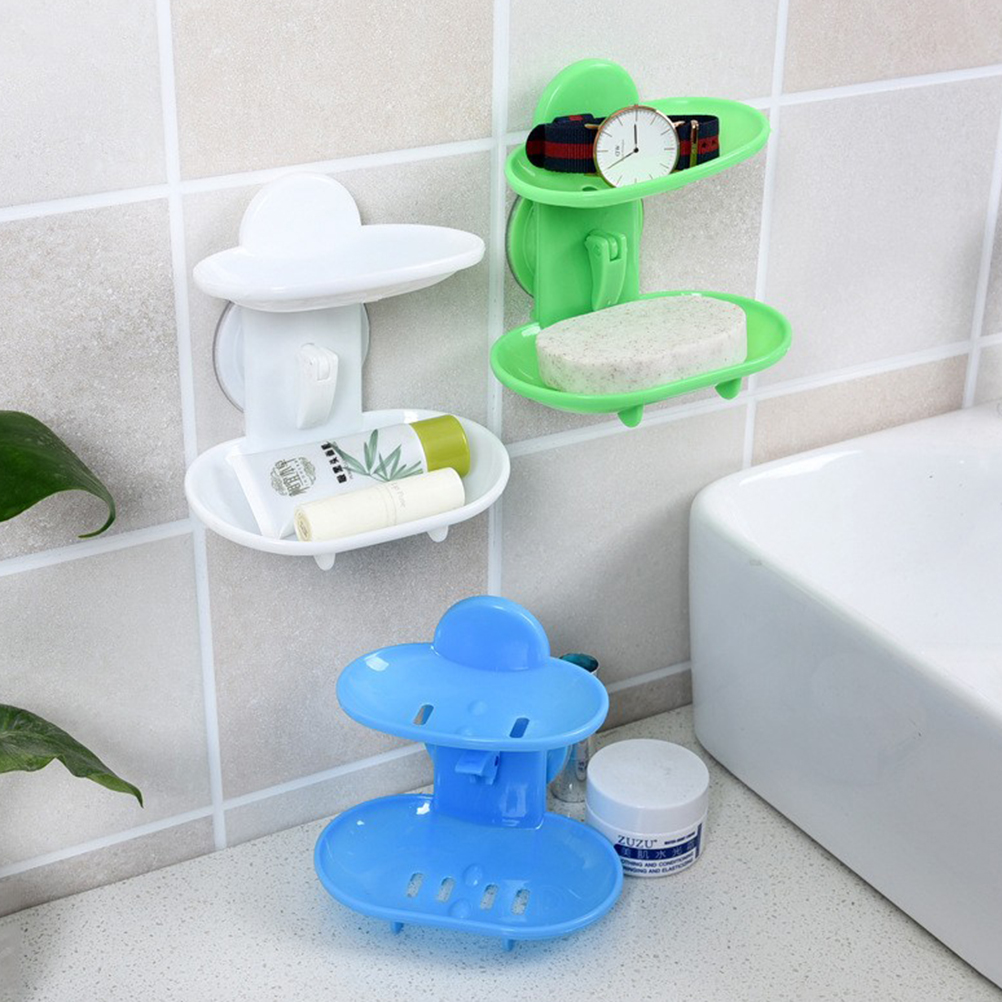 1PCS Hot Selling Bathroom Double Layers Strong Sucker Soapbox Soap Draining Holder Soap Dish 6 Colors