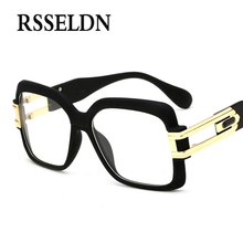 RSSELDN 2017 Optical Eyewear Frames Men Clear Lens Eyeglasses Women High Quality Black Square Male Spectacle Glasses Frame New(China)