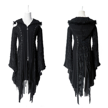 Punk Decadent Worsted Hooded Jacket Steampunk Gothic Flare Sleeve Holes Stitching Ladies Black Knitted Cardigan Sweaters(China)