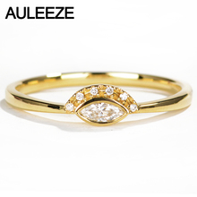 AULEEZE Bezel Set Real Diamond Ring 18K 750 Yellow Gold Natural Diamond Anniversary Wedding Ring For Women Gold Diamond Jewelry