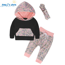 TZ248 Baby Clothing Sets 2017 Winter Sports Floral Hooded Tops Newbron Girls Headband Pants 3 PCS Set Baby Girls Clothing(China)