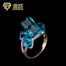 Hot Sell Fashion Luxury Rings Blue Red Color Rings Ice Shape shiny Square Crystal Rings For Women Valentine's Day Gifts