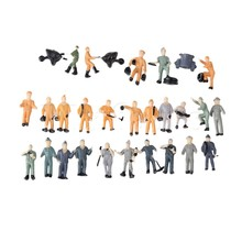Mxfans 25x Miniature 1:87 Figurine Workers Construction Multicolor for Sand Table Model
