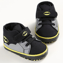 Newborn Baby Shoes Infant Toddler Cute Cartoon Batman Fashion Lace-Up Girl Boy Kids First Walkers Kids Soft Soled Sneakers(China)