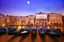 wall art canvas fabric poster print Venice Italy city nightscapes 509PFJ for room decor home decoration (frame available)