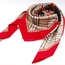 Fashion Plaid Print 100% Silk Twill Scarf ,Women's Quality Hand Rolled Silk Scarves Shawl Wraps Square Size 90x90cm