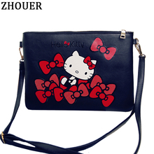 2017 New Women Clutch Bag Hello Kitty Cute Cartoon Mickey Handbag Messenger Bag Ladies Leather Handbags Wallets BD010