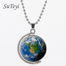 SUTEYI Newest Double sides rotatable world map pendant necklace vintage USA map american men women necklaces  holder jewelry