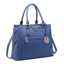 Miss Lulu New Fashion Women Multi Compartments PU Leather Navy Handbag Shoulder Tote Hand Bag Cross Body Satchel LT6611
