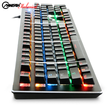 Top AOYEAH K100 Metal Mechanical Gaming Ergonomic 104 Keys Keyboard 19 Models Backlit Multimedia With Russian Sticker Gift