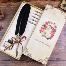 Feather Pen Retro Gift Set Gift Harry Potter Rooster Powder Twill Pen Valentine's Day Christmas Gift High quality goods not ink(China)