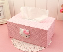 2016 news japan style cute tissue box can be used in car hello kitty pink tissue case