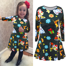 2017 New Pattern Pattern Christmas Clothing Christmas Child Dress High Clear Printing European Suit-dress 20 Element Following(China)