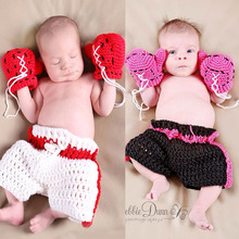 2016 Kids Clothes set Infant Boxing gloves shorts Outfits Crochet Baby Boy Boxer photography props Handmade knitted MZS-15029(China)