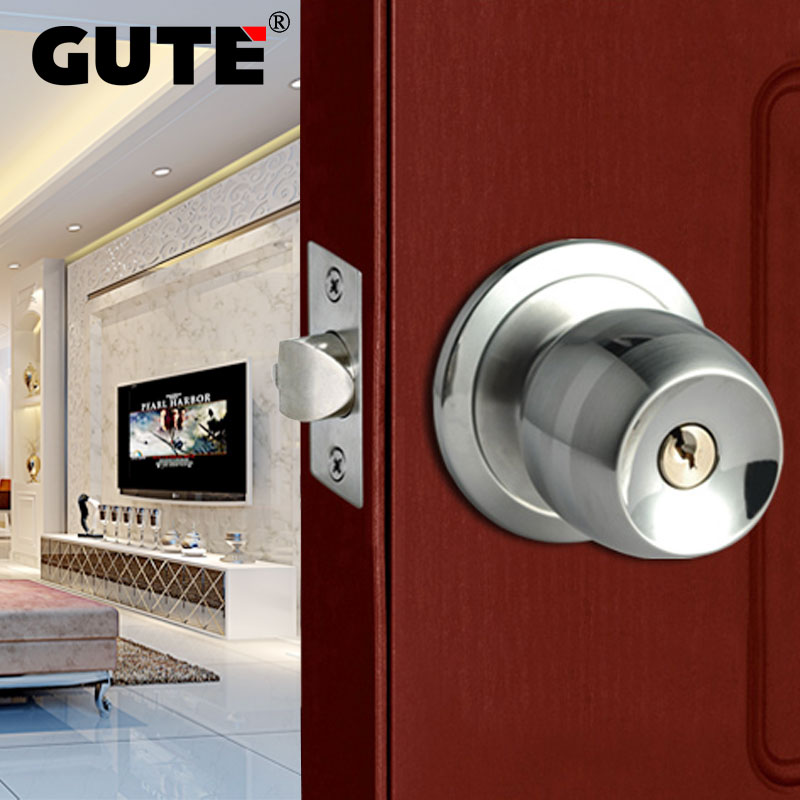 GUTE Door Lock Stainless Steel Ball Shape Style Door Lock Bedroom Room Bathroom Lock With Knob Lock Interior Door Handle Lockset<br>