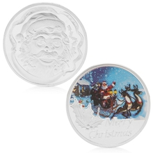 Merry Christmas Santa Claus Silver Plated Commemorative Challenge Coin Token Art(China)