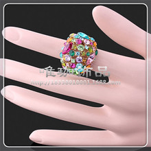 10pcs/lot A073 Fashion Jewelry Hot jewelry wholesale Colorful mosaic CZ diamond ring finger exaggerated