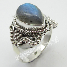 SOLID  SILVER Natural LABRADORITE RING SIZE 7.5 Fine Jewelry Store