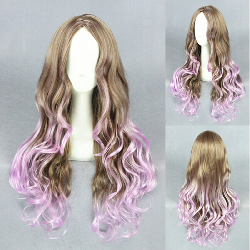 New Fashion Harajuku Mori Girl Style Brown Purple Mixed Long Wavy Curly Cosplay Party Wigs<br><br>Aliexpress