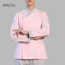Viaoli Medical Uniforms Nursing Scrubs Clothes for Beauty Short Sleeve coat Doctor Clothing Hospital Work Dress White and pink(China)