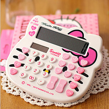 Cute Kitty Cats Pattern 12 digits Dual power (solar power + AA battery)  scientific calculator for Office work freeshipping