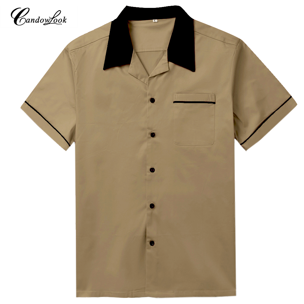 Hot SALE Summer Fashion Mens Clothing Loose Breathable Short Sleeve Brown Blouse Cotton Casual Bowling Shirts