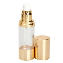 2017 High Quality Perfume Vacuum Flask Pump 15ML Bottle Gold Cap for Essence Lotion Cosmetic   #BSEL