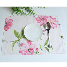 Chinese style elegant pink flower table mat cotton linen fabric bowl cup pad restaurant teahouse dining table decoration