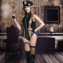 Buy Adult Women Halloween Cops Outfit Erotic Fetish Police Officer Jumpsuits Front Zipper Fancy Faux Leather Party Dress 9713