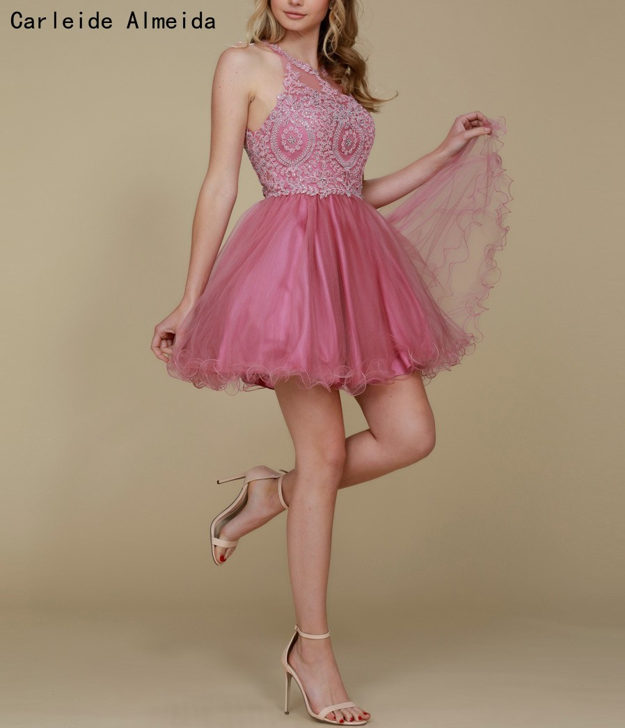 A-Line Tulle Dusty Rose Short Prom Dresses Lace Appliques Sexy Graduation dresses