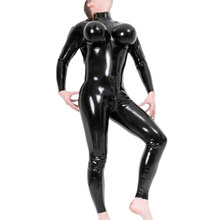 Men's Exotic Costumes Sexy Black Fetish Latex Zentai Bodysuits With Inflatable Breasts Rubber Catsuits Plus Size Hot Sale LCM047