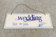 Personalized Outdoor Wedding Reception & Ceremony Decoration Directional Signs wedding sign board  Blue patten SB009H