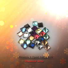 Mixed Colors glass DIY Rhinestone 6mm 8mm 10mm 100pcs/lot Square Shape flat back paste glue on garment accessories(China)