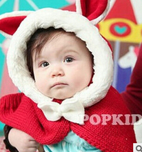 2015 Promotion Character Fashion Hot Winter Baby boy girl Cap Models Cartoon cute Rabbit Children crochet The Hat +shawl Set