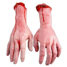 Hot Sale 1PC Severed Scary Cut Off Bloody Fake Latex Lifesize Arm Hand Halloween Prop Hot(China)